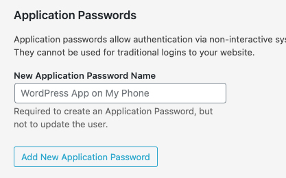 Wordpress application passwords